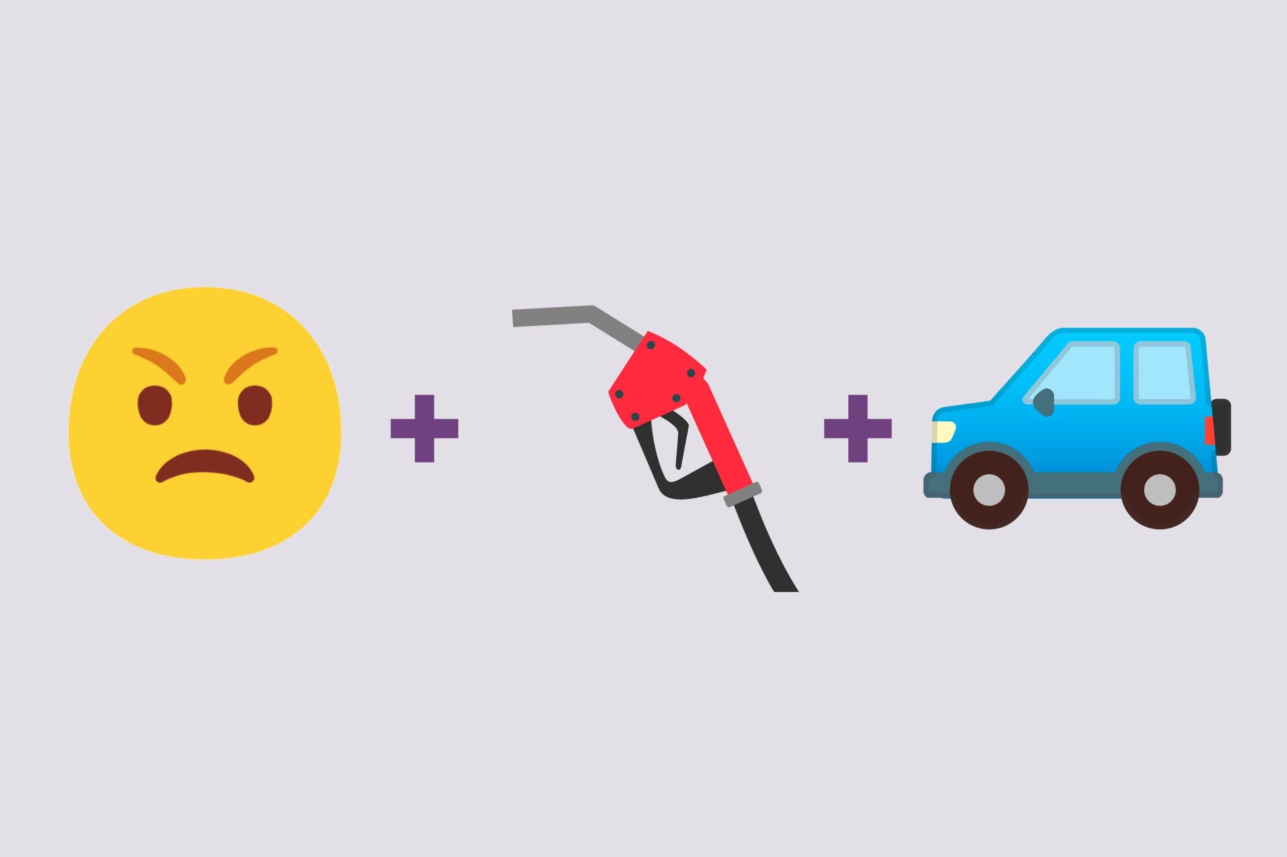 Angry emoji + gas emoji + car emoji