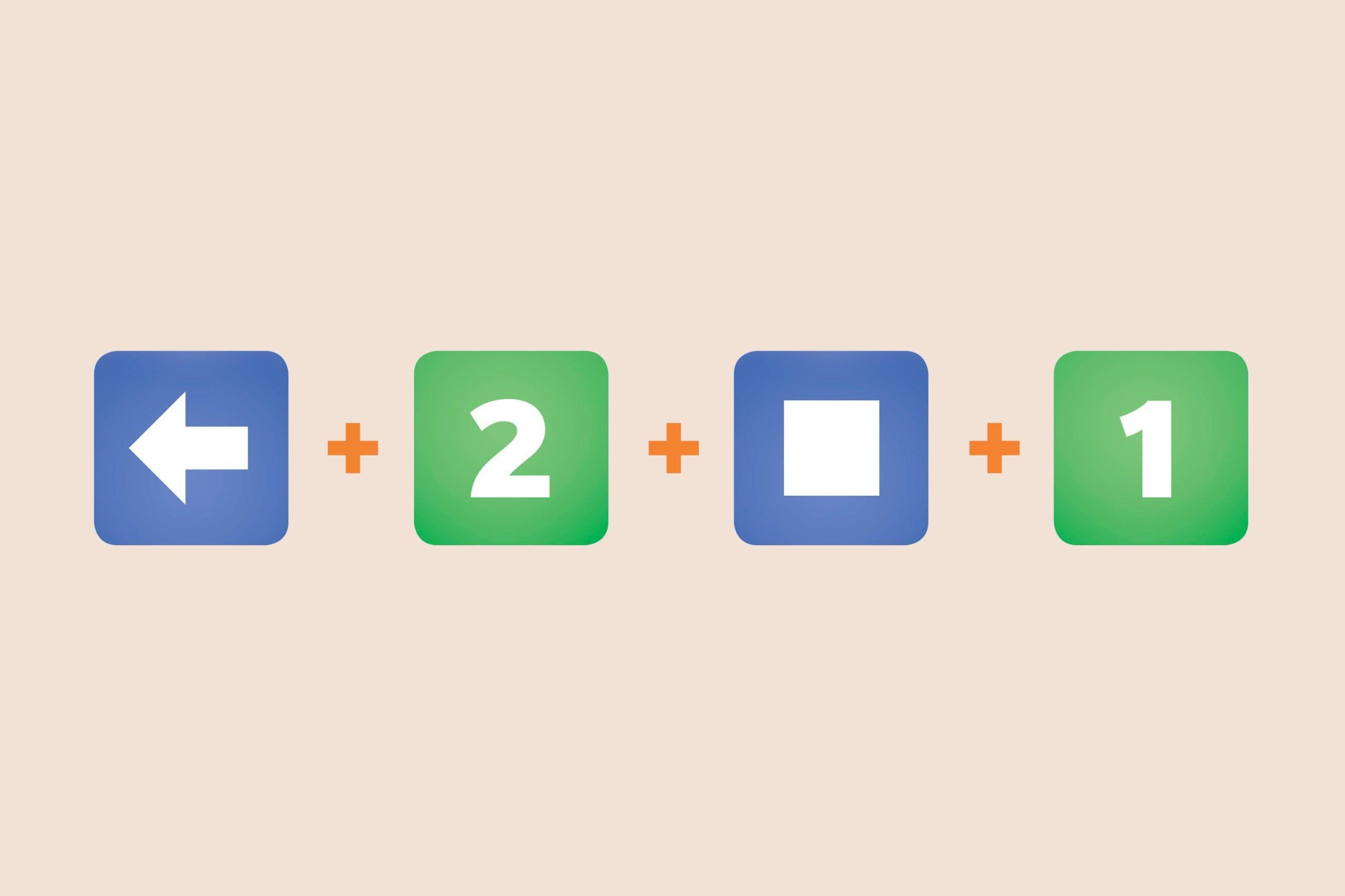 Arrow pointing left emoji + Number 2 emoji + square emoji + Number 1 emoji