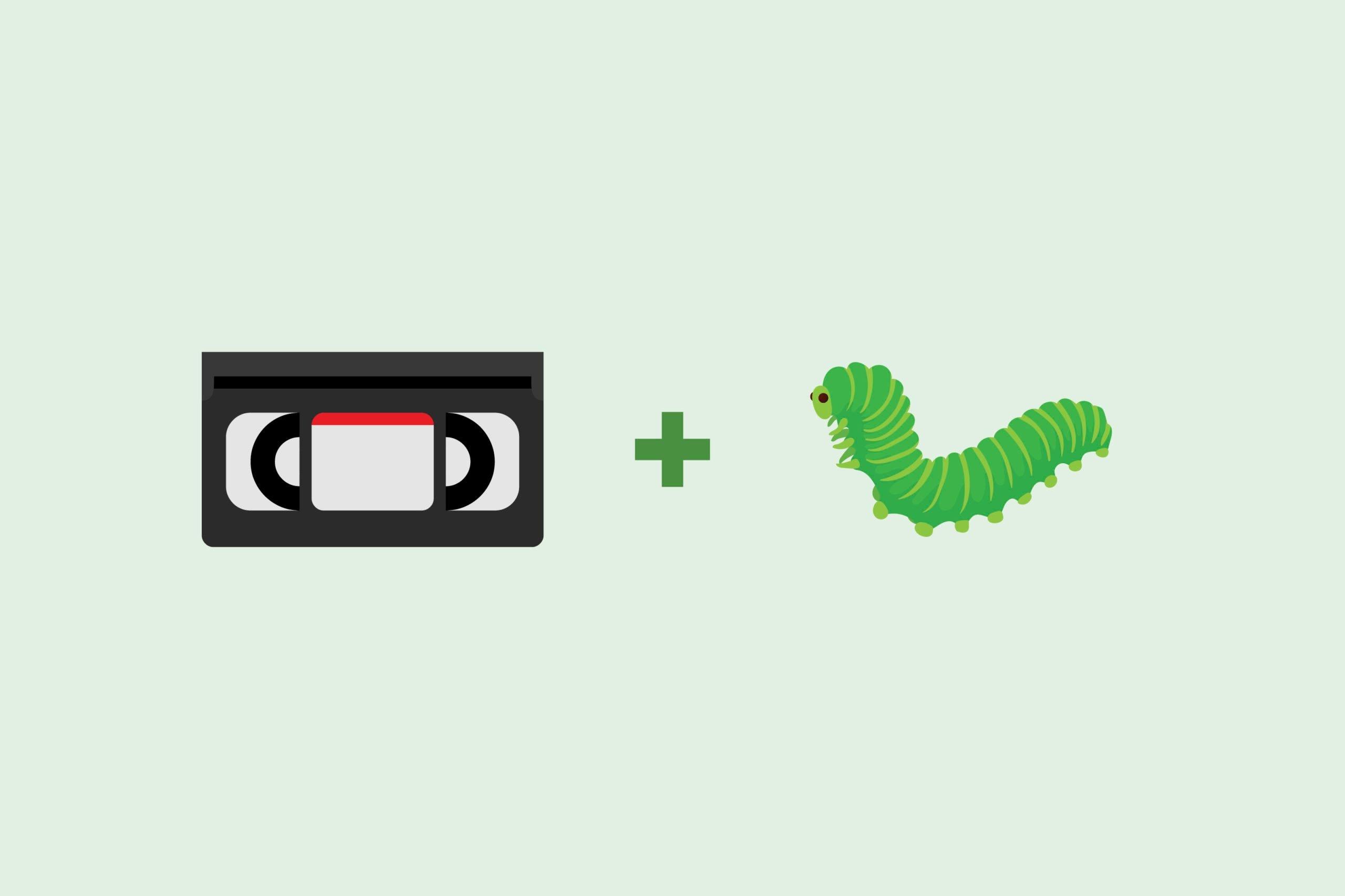 Cassette emoji + caterpillar emoji (worm)