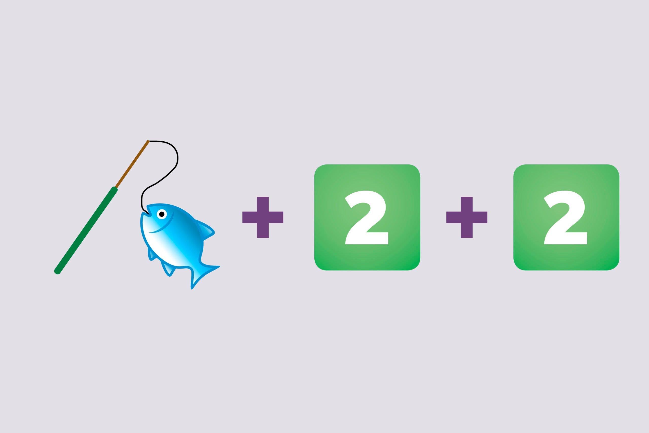 Fishing emoji + Number 2 emoji (twice)