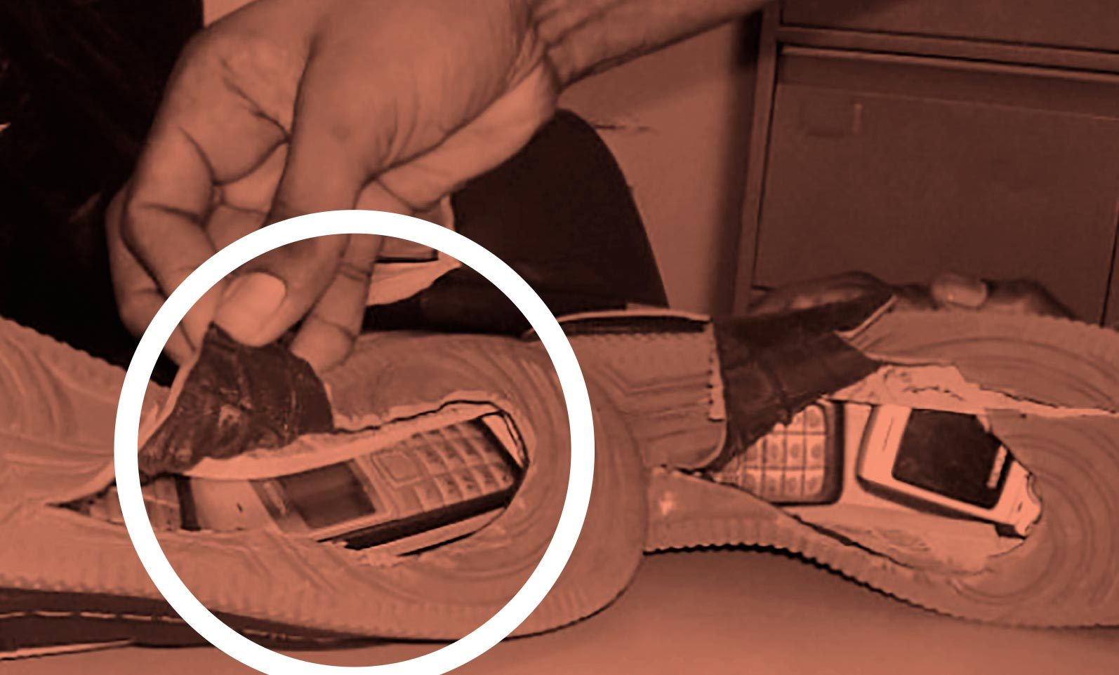 cell phones smuggled in the soles of sneakers