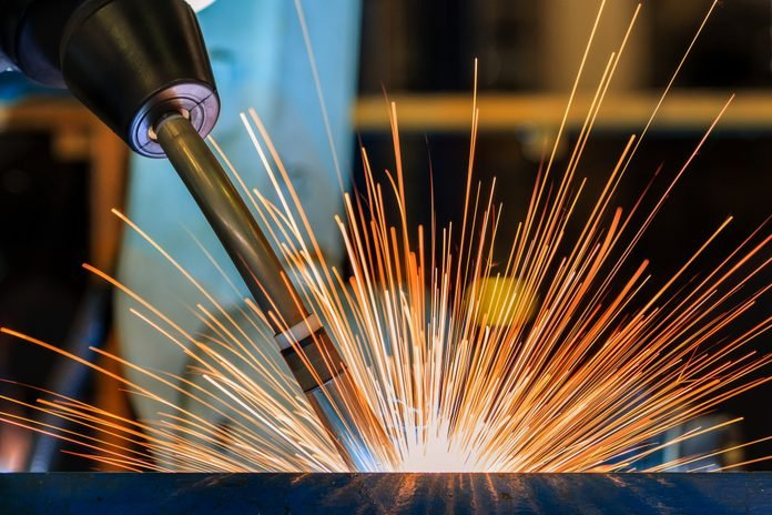 close up of sparks from welding