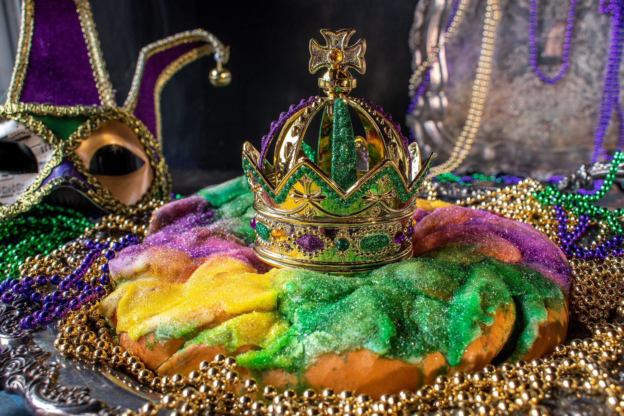 king cake with crown