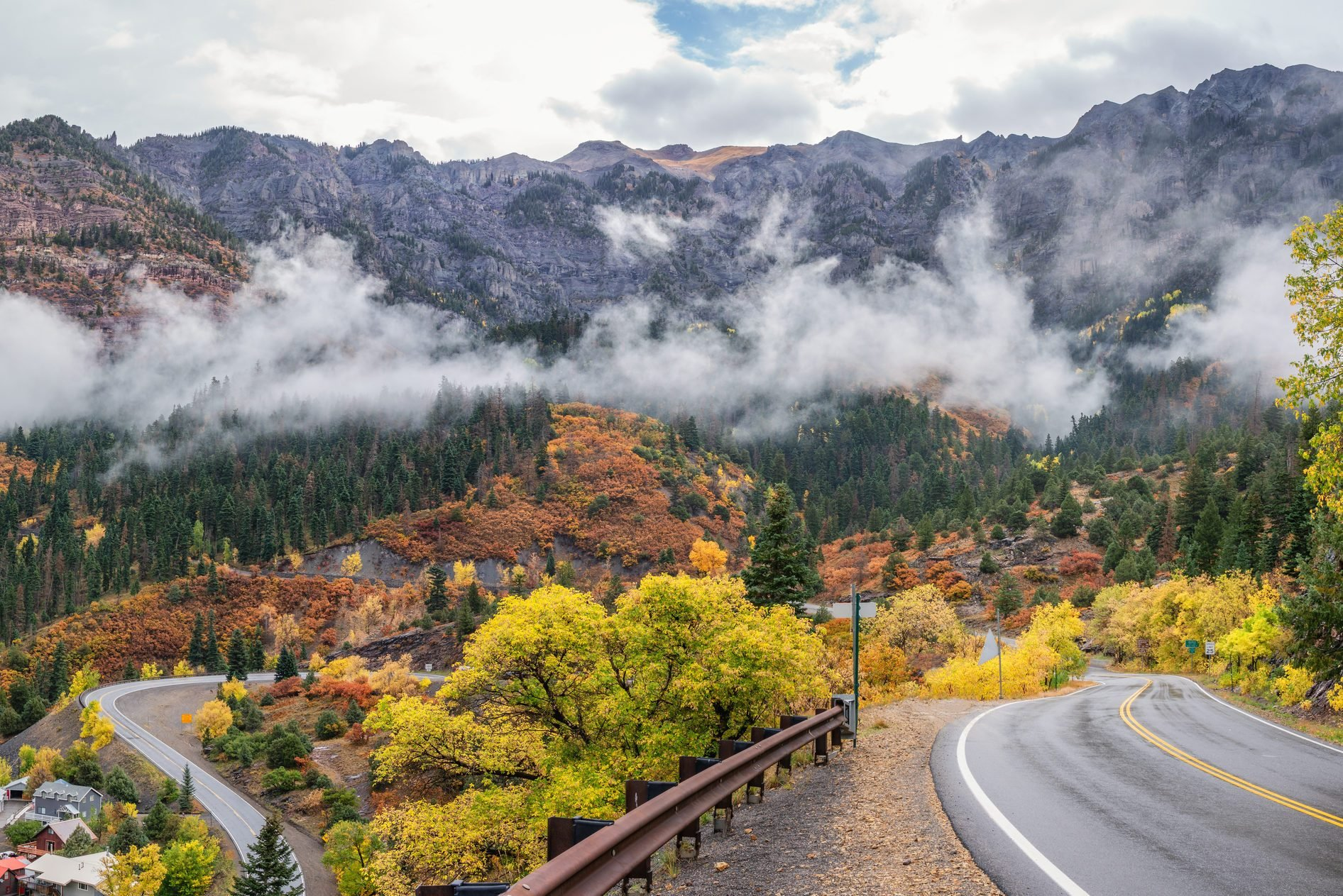 Ouray Colorado in Autumn on the Million Dollar Highway