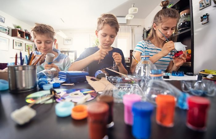 Kids upcycling - creating new fun stuff from used stuff