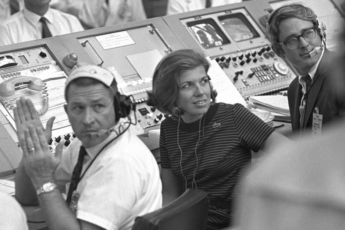 NASA engineer and instrumentation controller for Apollo 11 JoAnn Morgan watches the blast off of Apollo 11 in the Launch Control Center of the Kennedy Space Center on July 16, 1969 in Merritt Island, Florida.