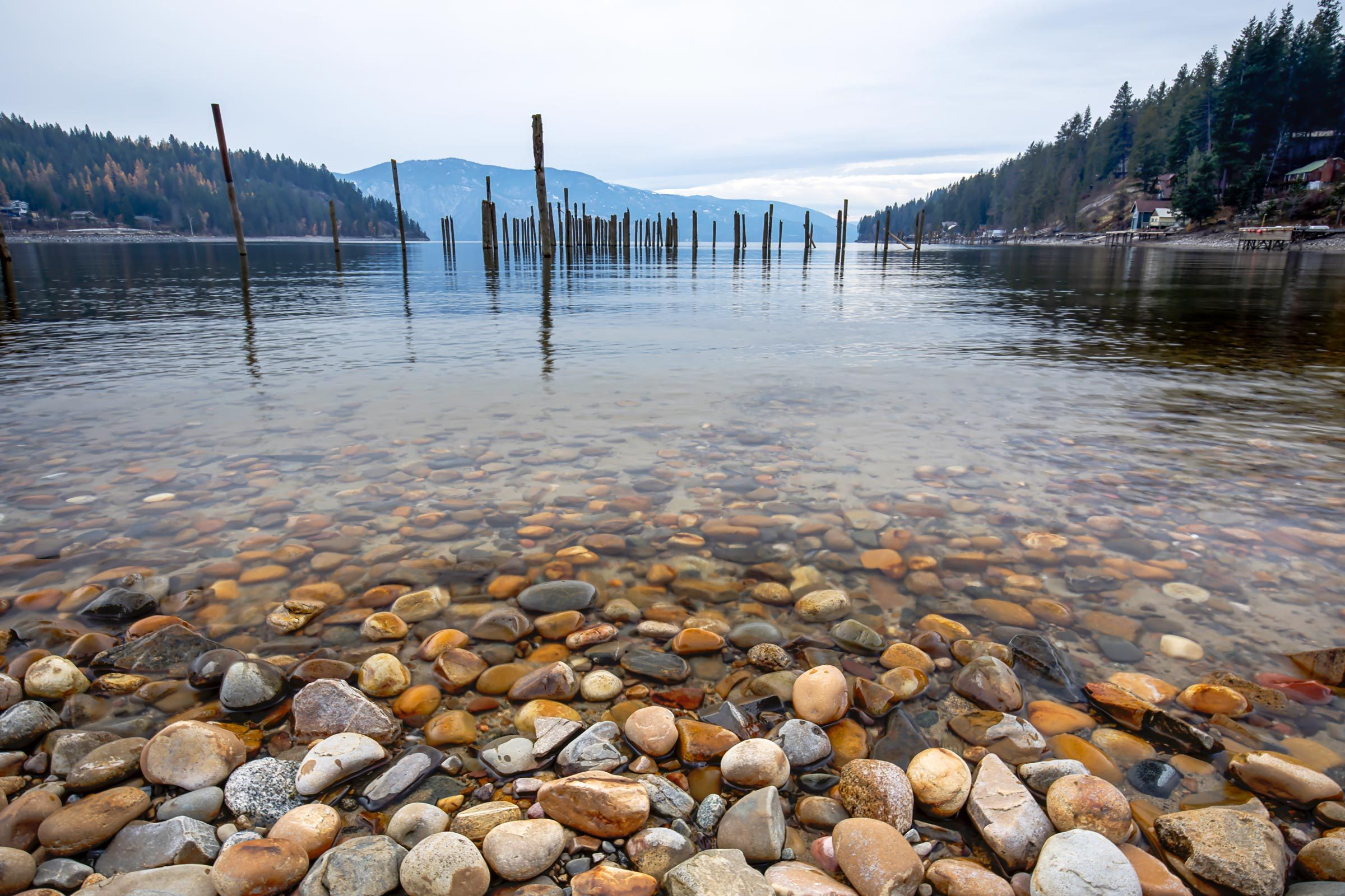 Rocks in the clear water in Pend Oreille Lake at Garfield Bay just south of Sandpoint, Idaho