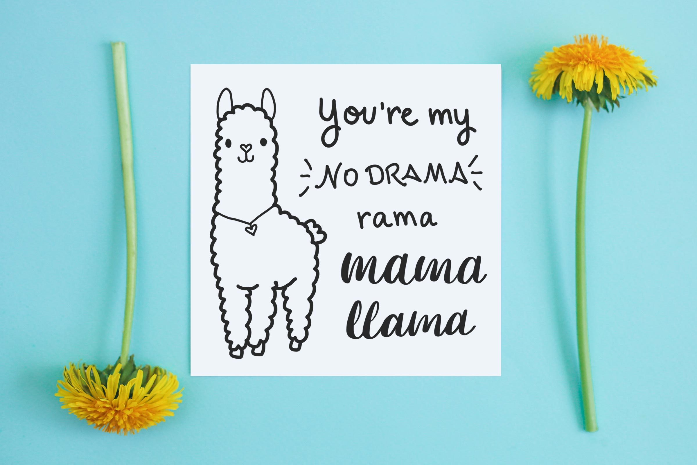 """card and dandelions on blue background. card reads, """"you're my no drama rama mama llama"""""""