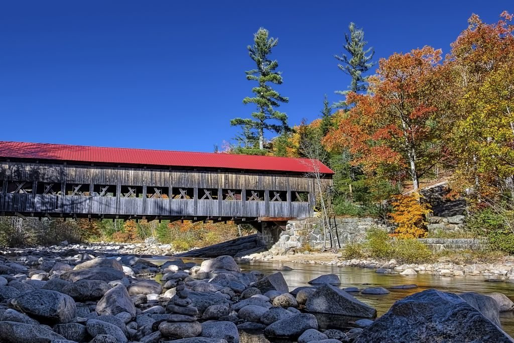 Albany Covered Bridge spanning the Swift River in New Hampshire.