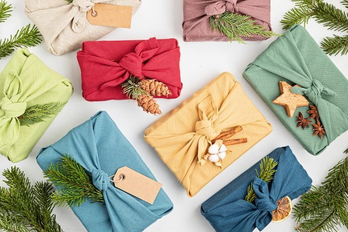 Furoshiki gifts. Eco friendly alternative green Xmas presents