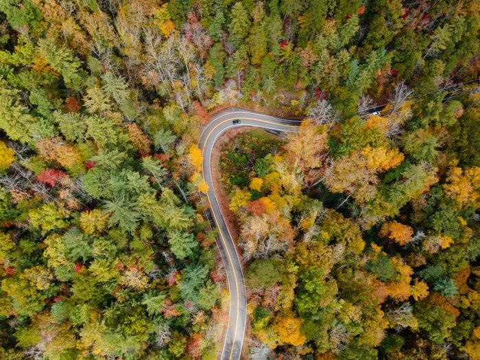Aerial View of the Tail of the Dragon in the Fall