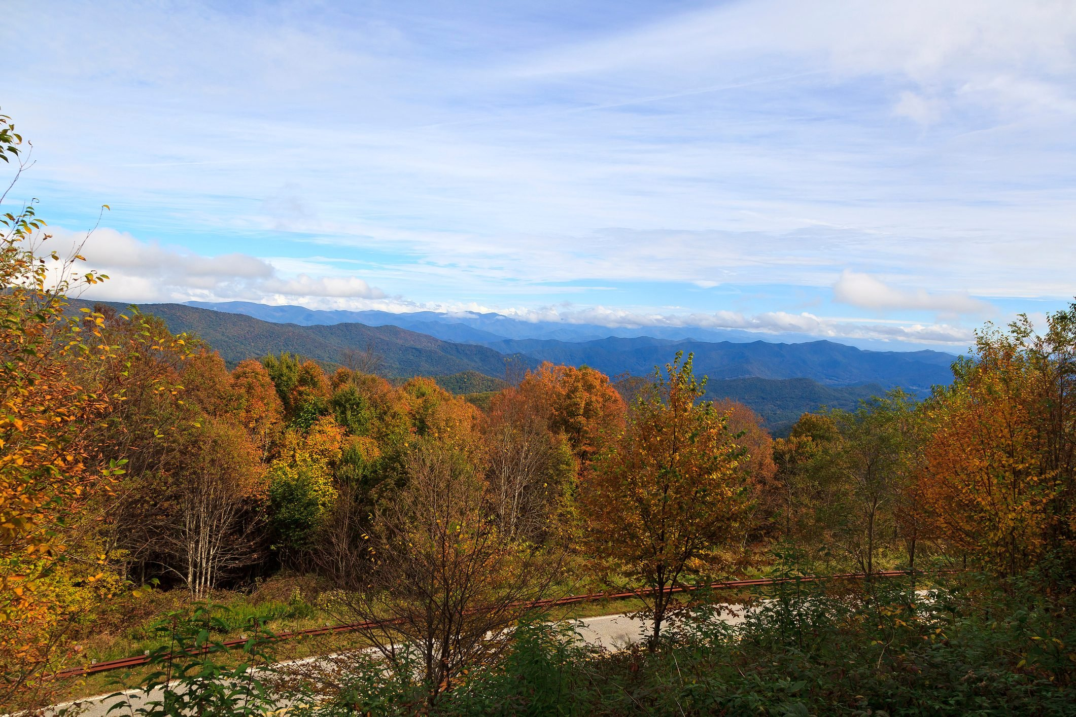 Part of the Cherohala Skyway, TN, in the fall with vast view of mountains