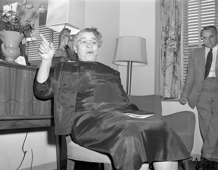 Mrs. Charlotta Bass Seated And Pointing