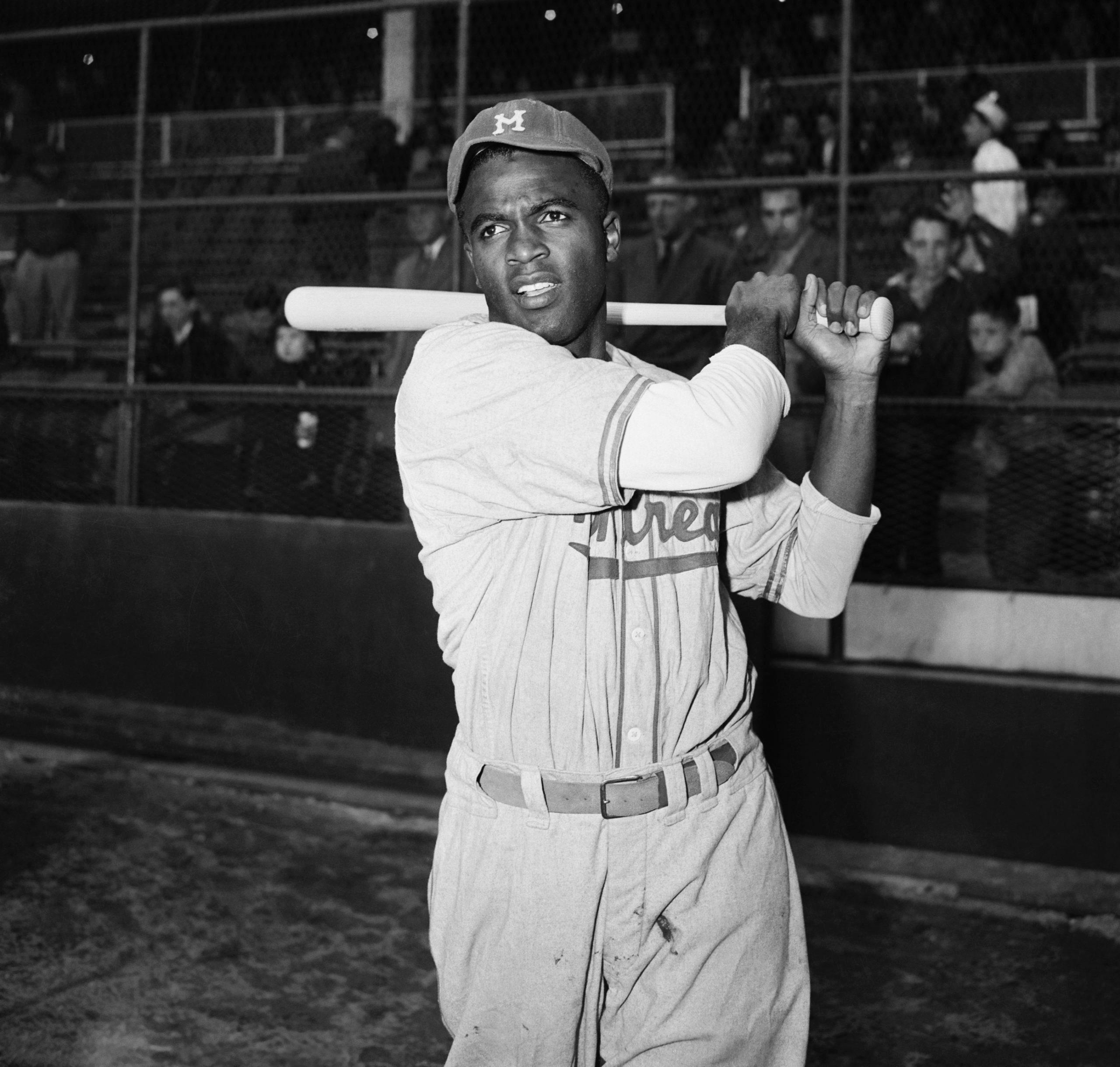 Jackie Robinson Swinging Bat