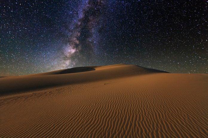 Starry Sky over the sand dunes of the Gobi Desert, Mongolia