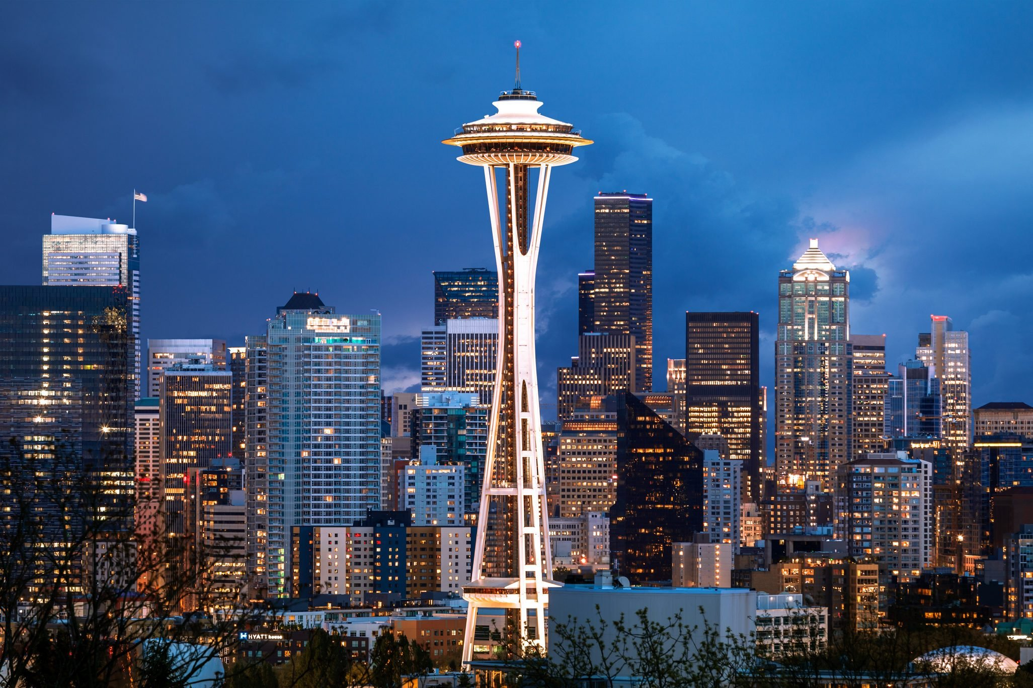 Skyline of Seattle in early evening with the Space Needle at the center; Seattle, Washington, America