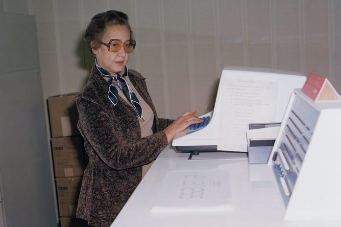 NASA space scientist, and mathematician Katherine Johnson poses for a portrait at work at NASA Langley Research Center in 1980 in Hampton, Virginia.