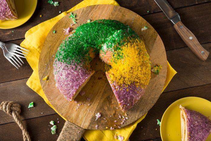 Homemade Colorful Mardi Gras King Cake