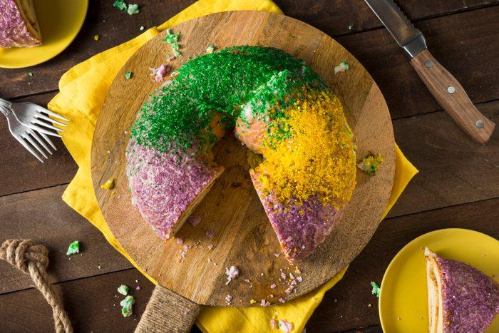 Homemade Colorful Mardi Gras King Cake