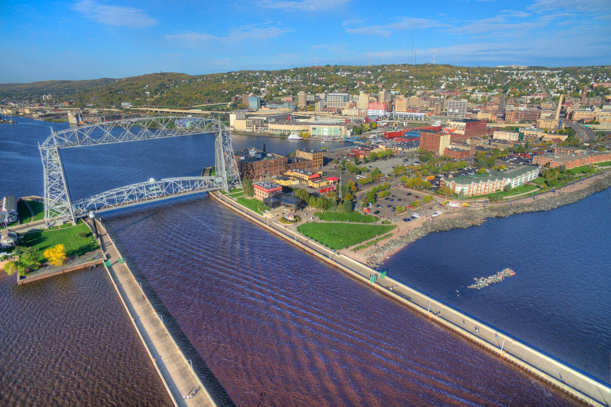 Duluth, Minnesota and Lake Superior in Summer seen from Above by Drone