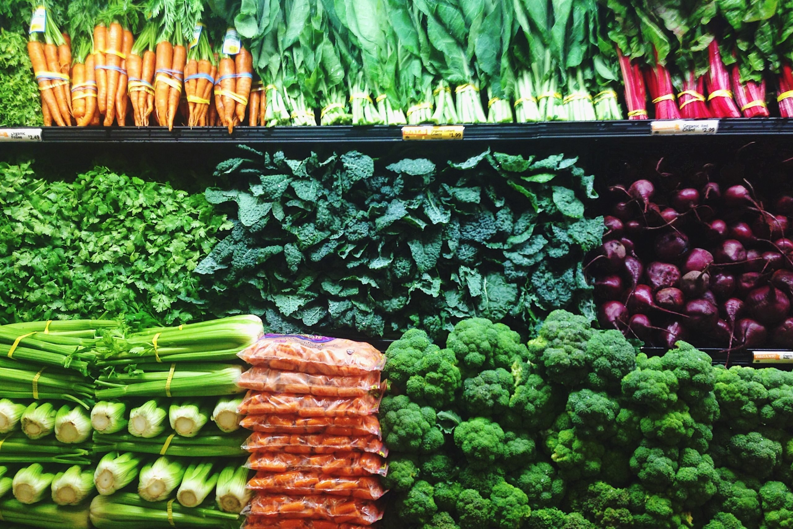 produce and vegetable in a grocery store