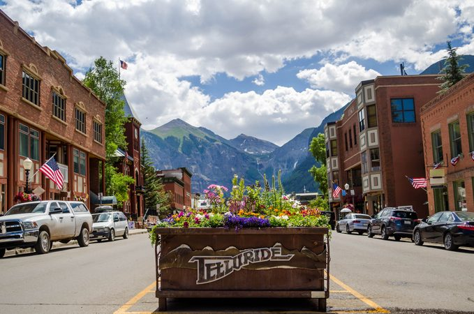 Downtown Telluride, Colorado in the Spring