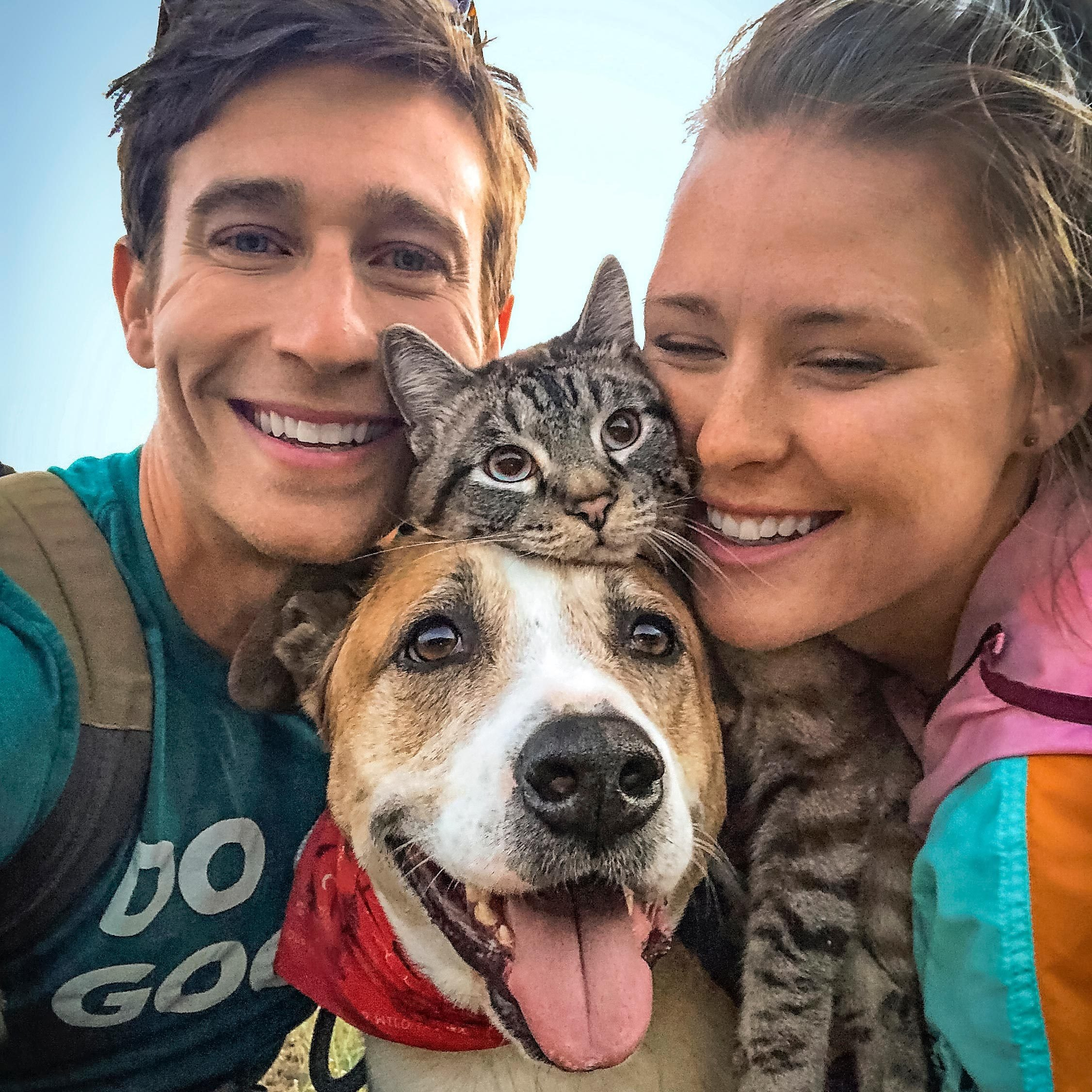 Group selfie of Henry and Baloo with Cynthia and Andre