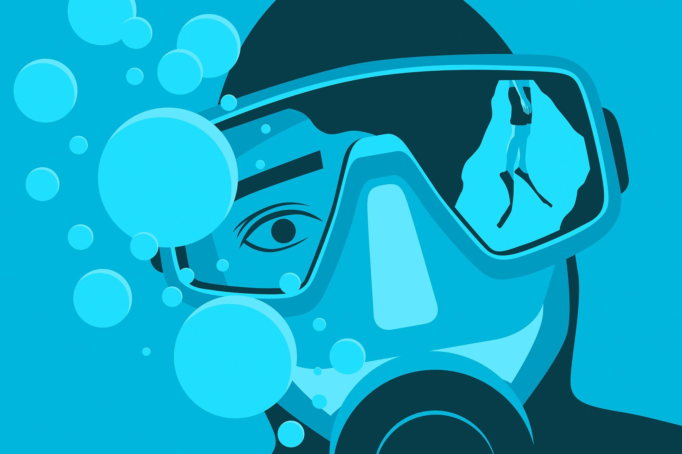 illustration of a diver's mask with another diver seen in the reflection