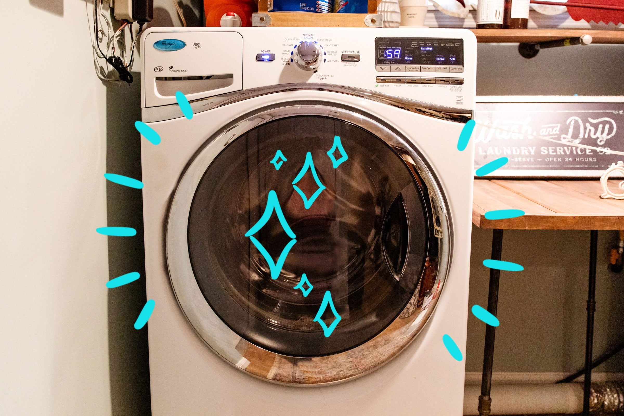 A washing machine door with sparkles, emanating wiggly lines to symbolize cleanliness