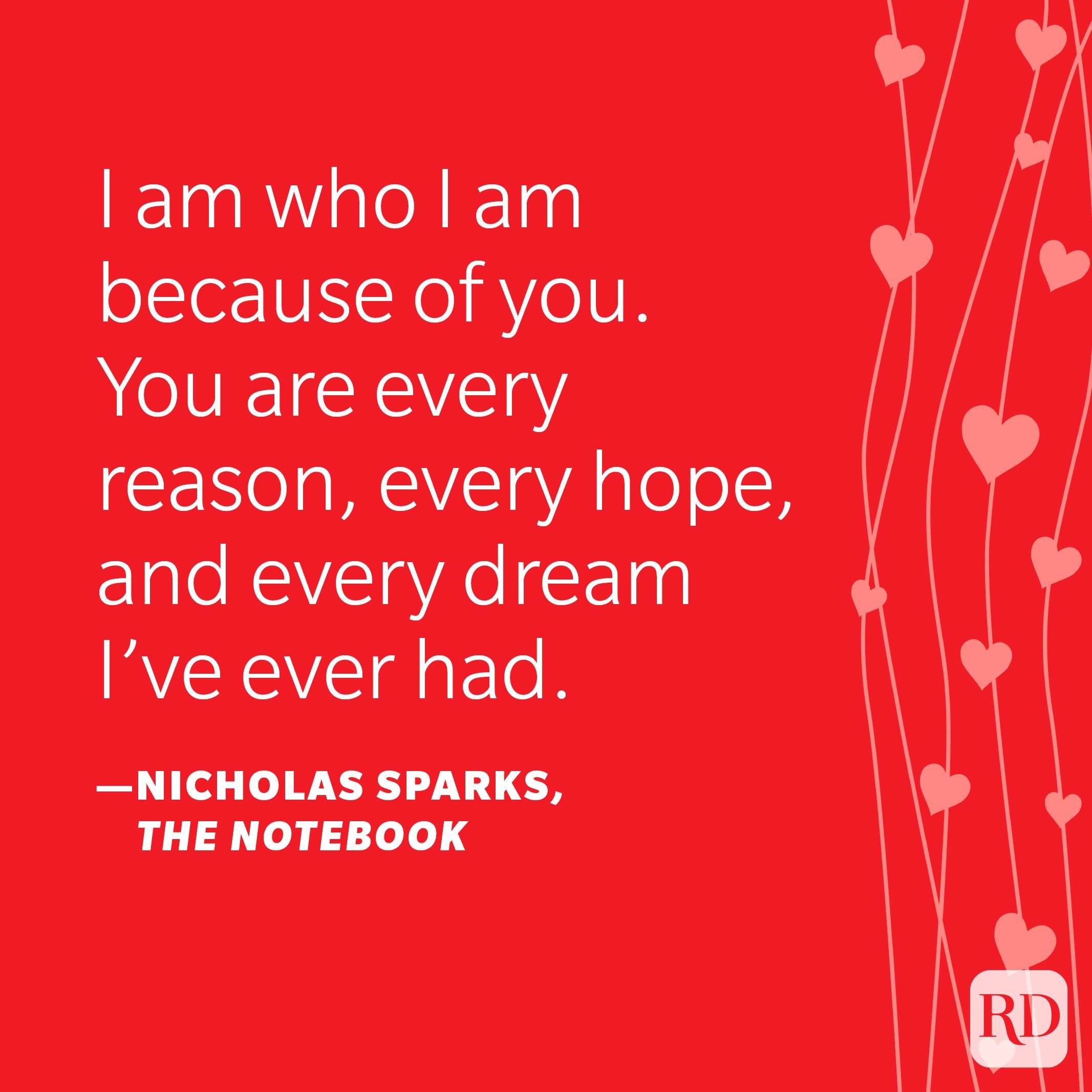 """""""I am who I am because of you. You are every reason, every hope, and every dream I've ever had."""" —Nicholas Sparks, The Notebook"""