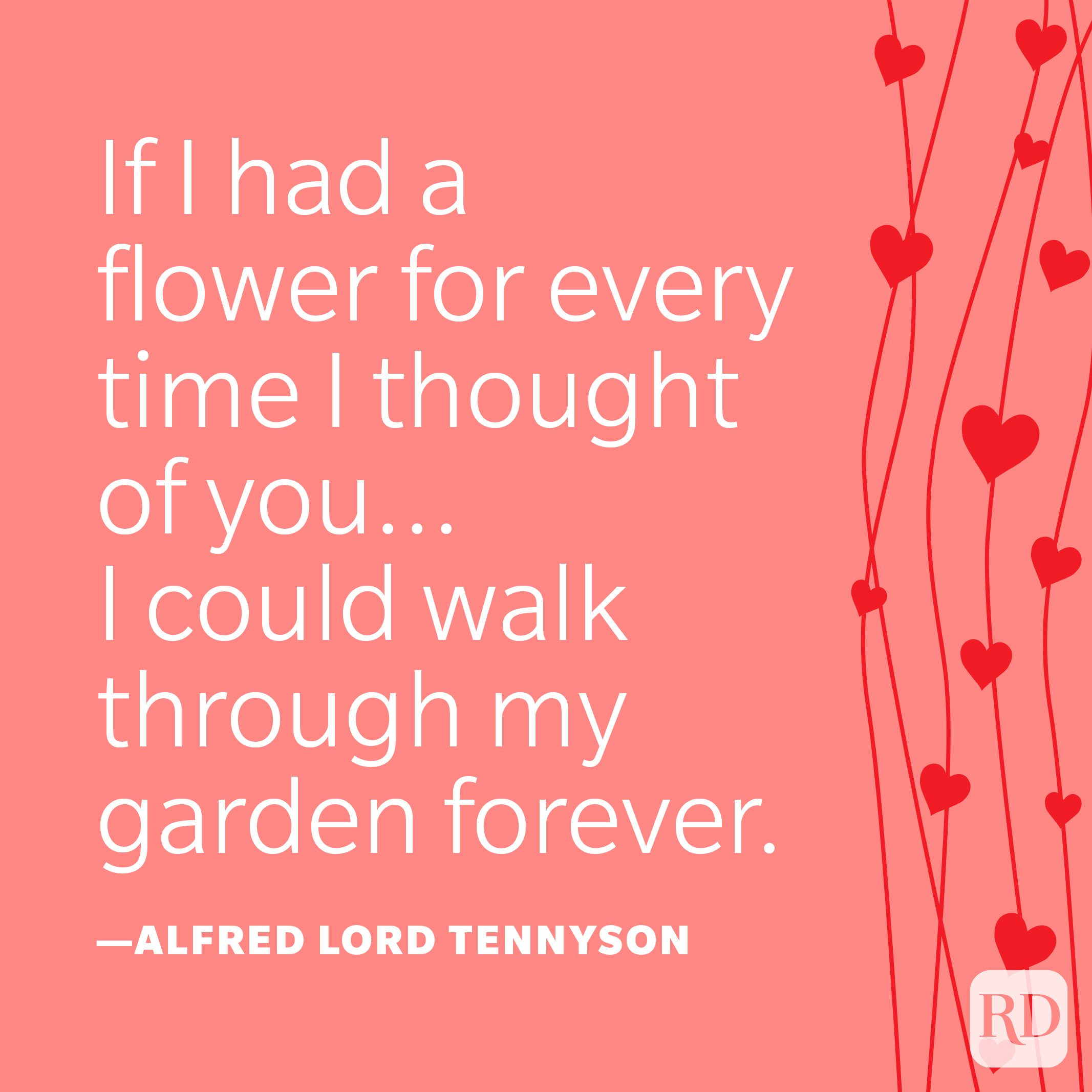 """""""If I had a flower for every time I thought of you...I could walk through my garden forever."""" —Alfred Lord Tennyson"""