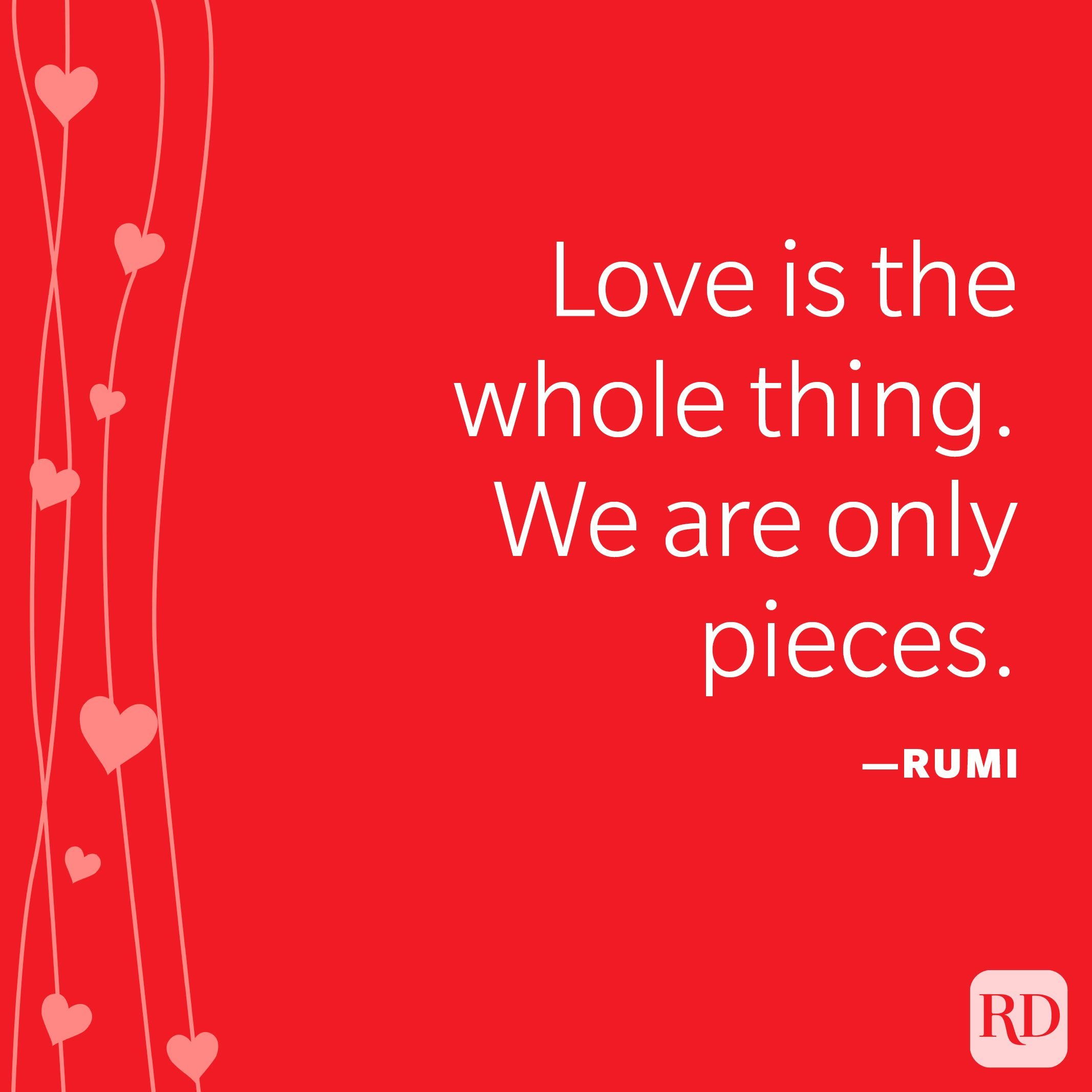 """""""Love is the whole thing. We are only pieces."""" —Rumi"""