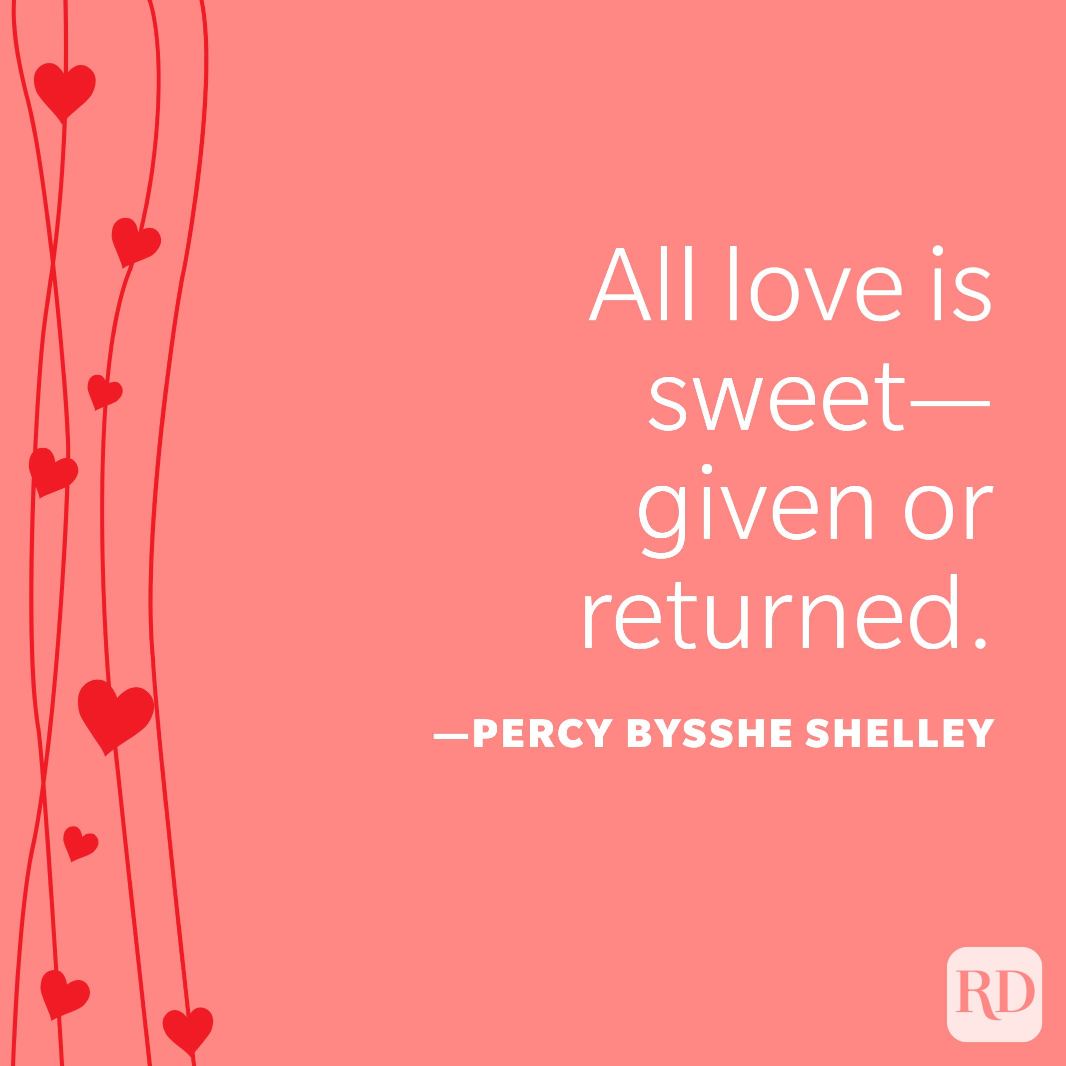 """""""All love is sweet—given or returned."""" —Percy Bysshe Shelley"""