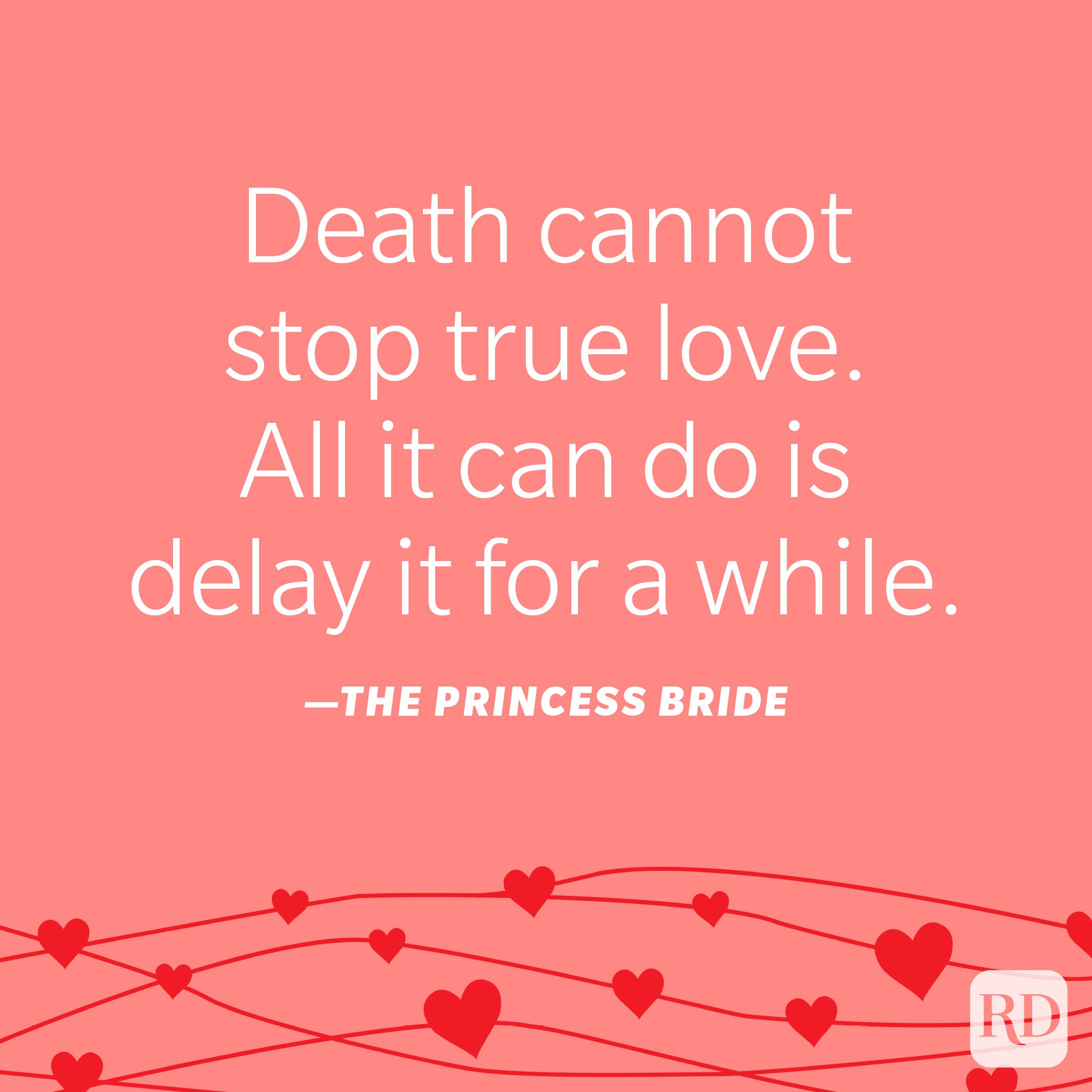 """""""Death cannot stop true love. All it can do is delay it for a while."""" —The Princess Bride"""