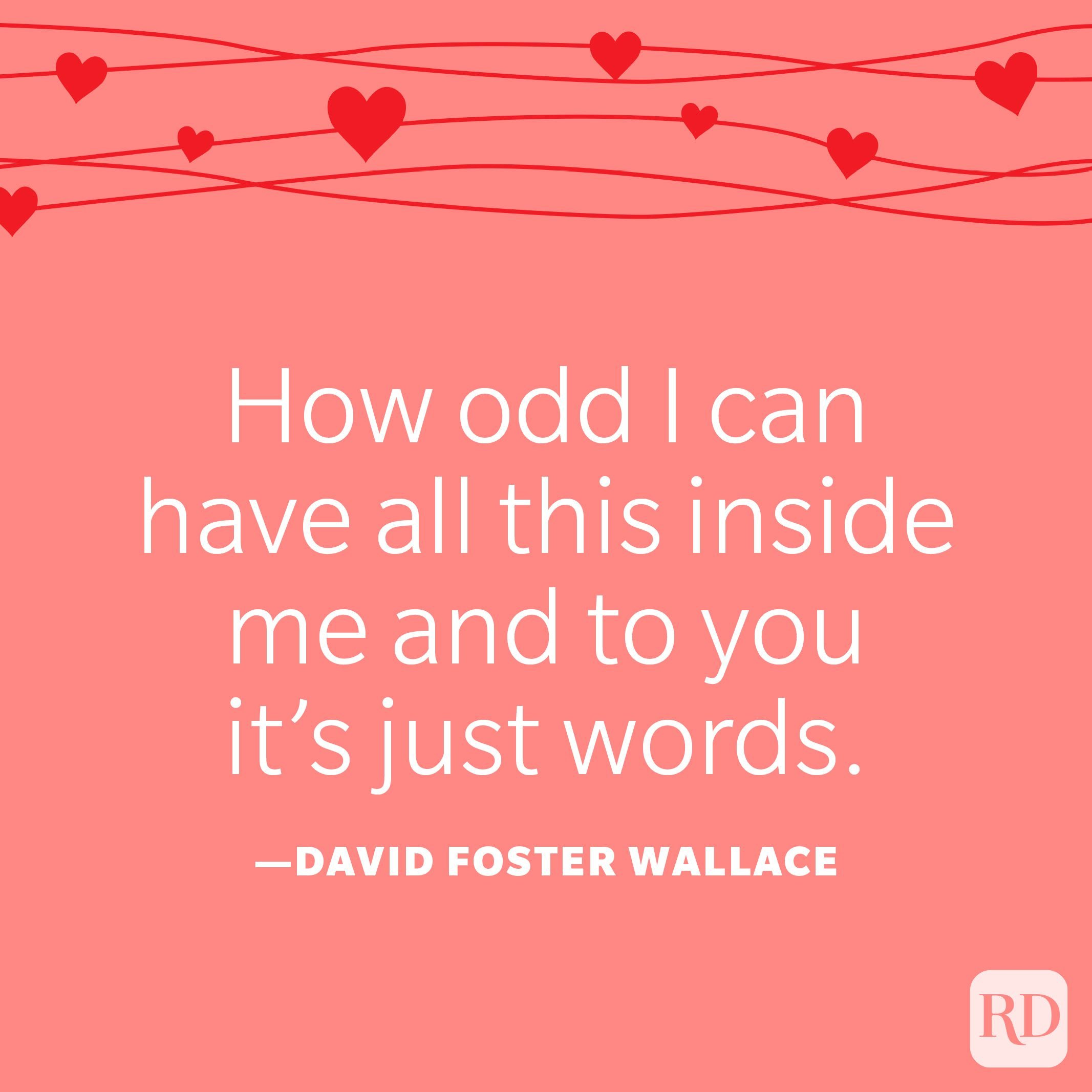 """""""How odd I can have all this inside me and to you it's just words."""" —David Foster Wallace"""