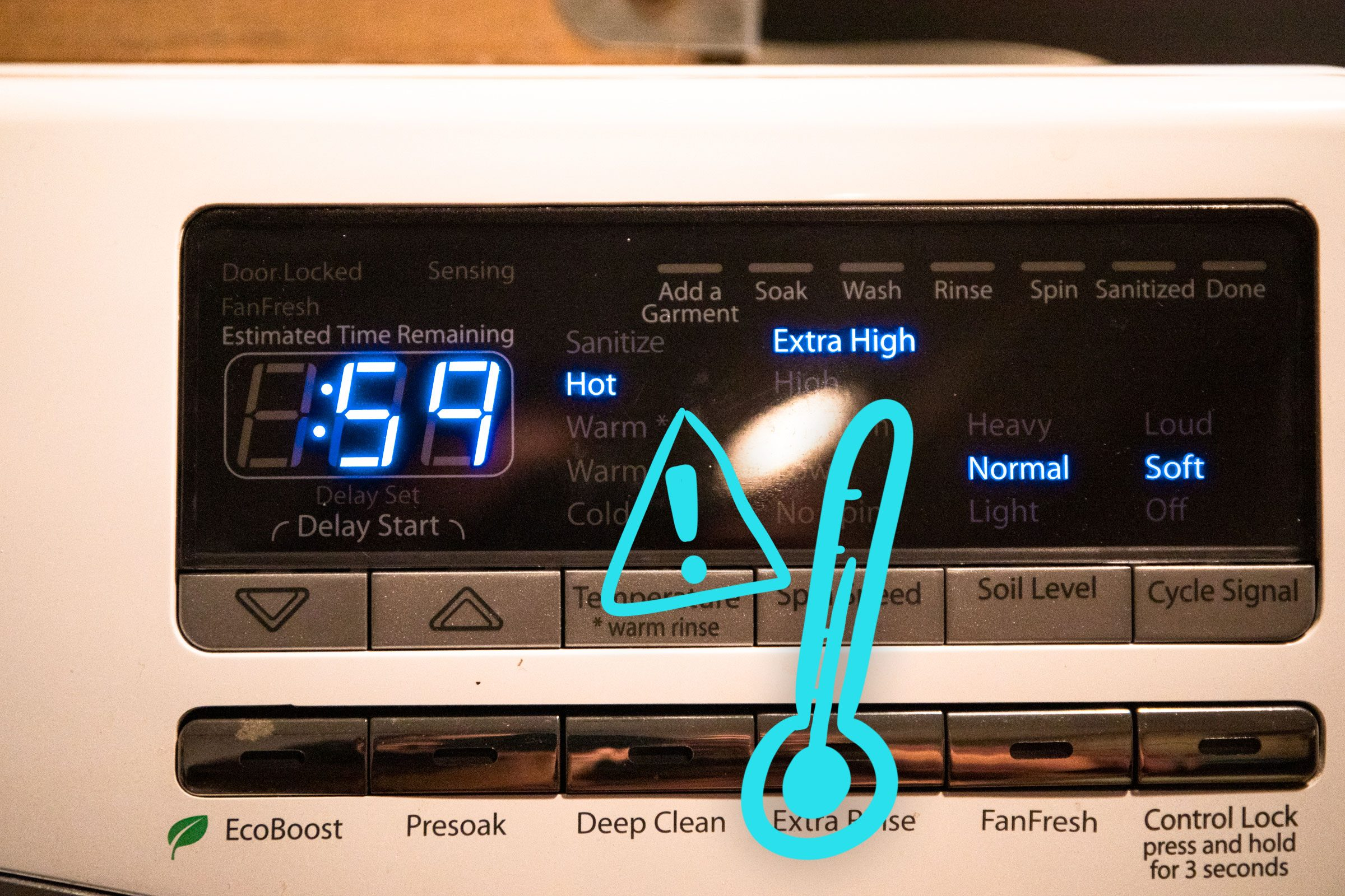 Thermometer beside exclamation point