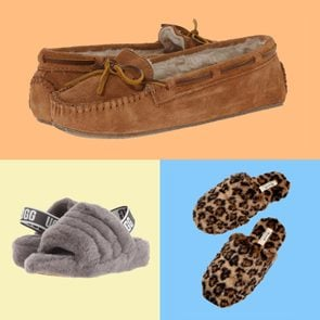 Three different slippers for women in a colorful grid