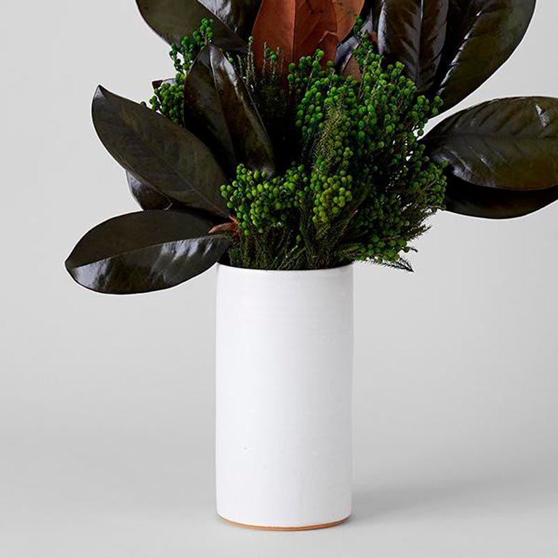Tracie Hervy White Stoneware Tall Cylinder Vase