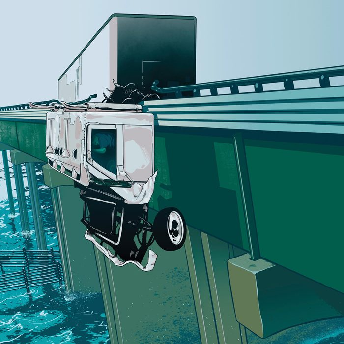 illustration of a truck cab hanging off the edge of an bridge, dangling above the water