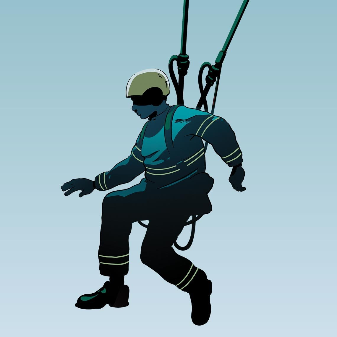 illustration of a rescuer in a harness