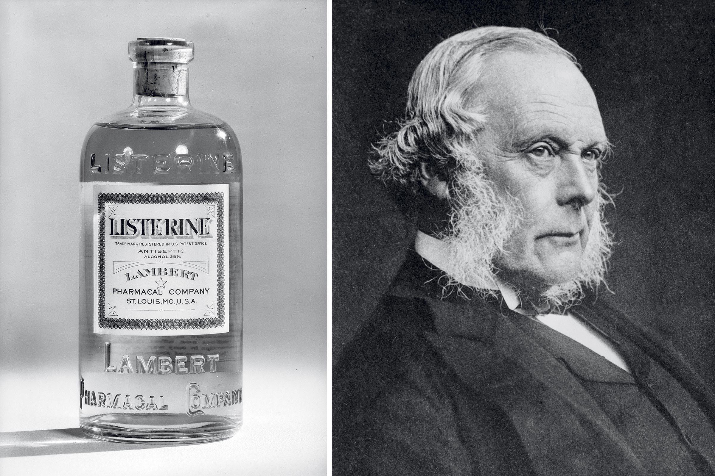 a vintage listerine bottle; portrait of dr. joseph lister