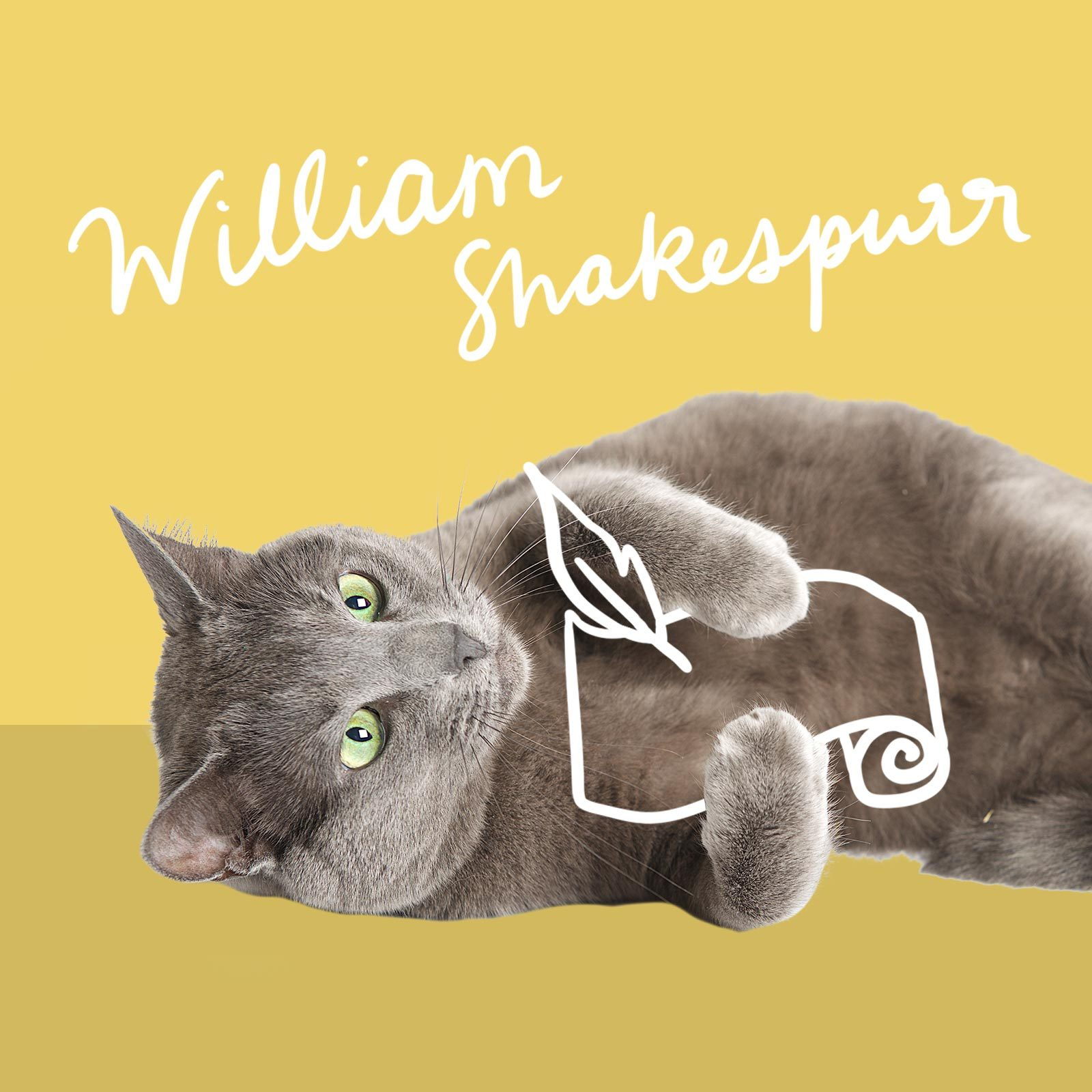 Cat writing on a scroll named William Shakespurr