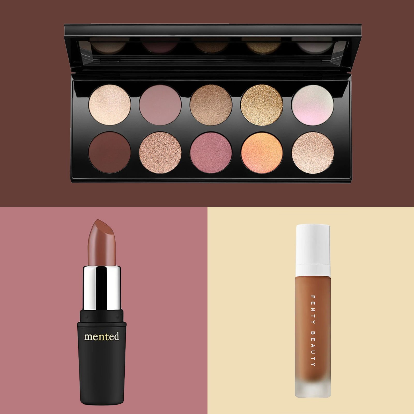 Eye shadow palette, concealer, and foundation