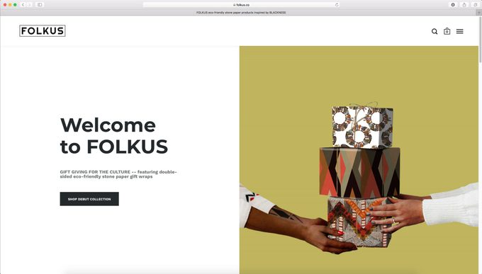 Folkus home page for gift wrapping goods