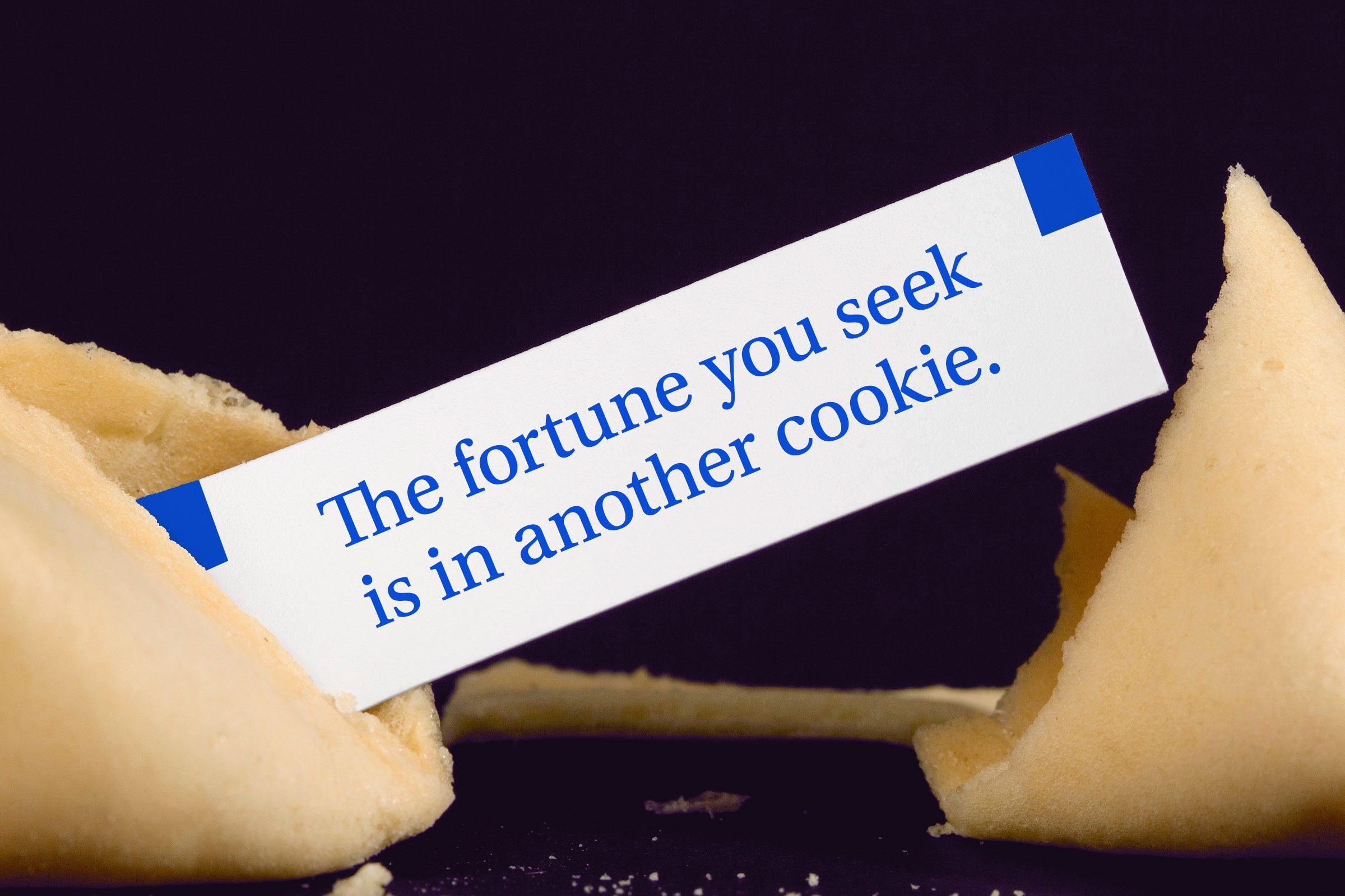 For image: The fortune you seek is in another cookie.