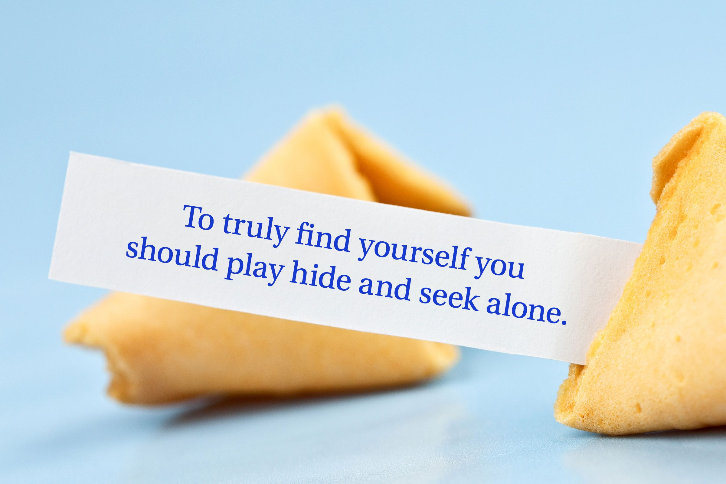 For image: To truly find yourself you should play hide and seek alone.