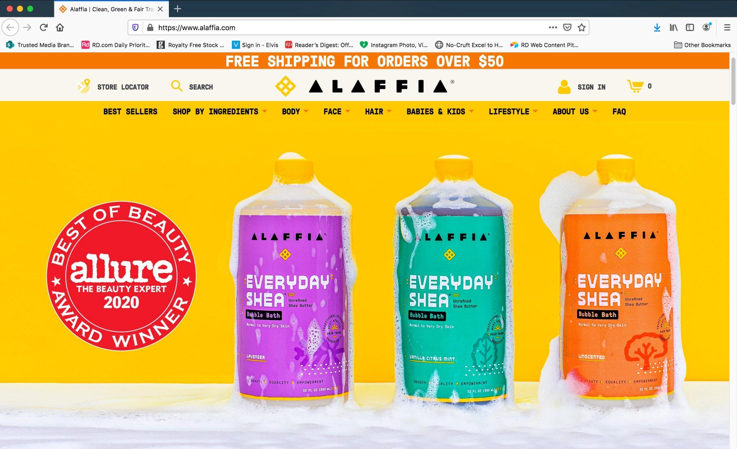 Homepage Of Alaffia.com