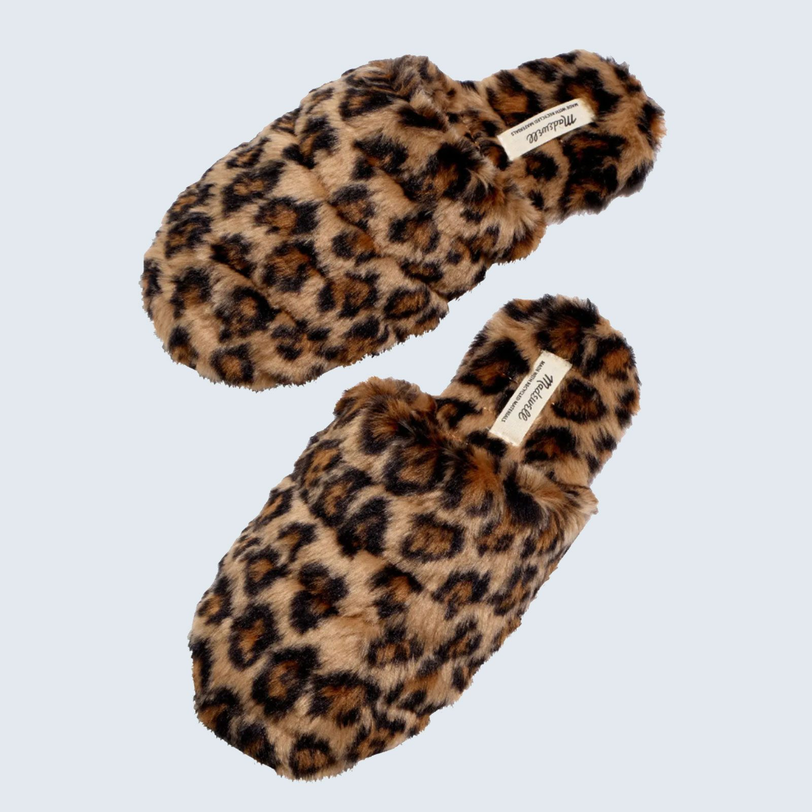 Best eco-friendly slippers: Madewell Leopard Recycled Faux Fur Slipper