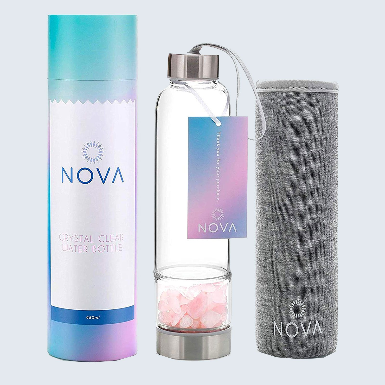 For the spiritual-minded mom: Nova Crystals Elixir Infused Clear Motivational Water Bottle