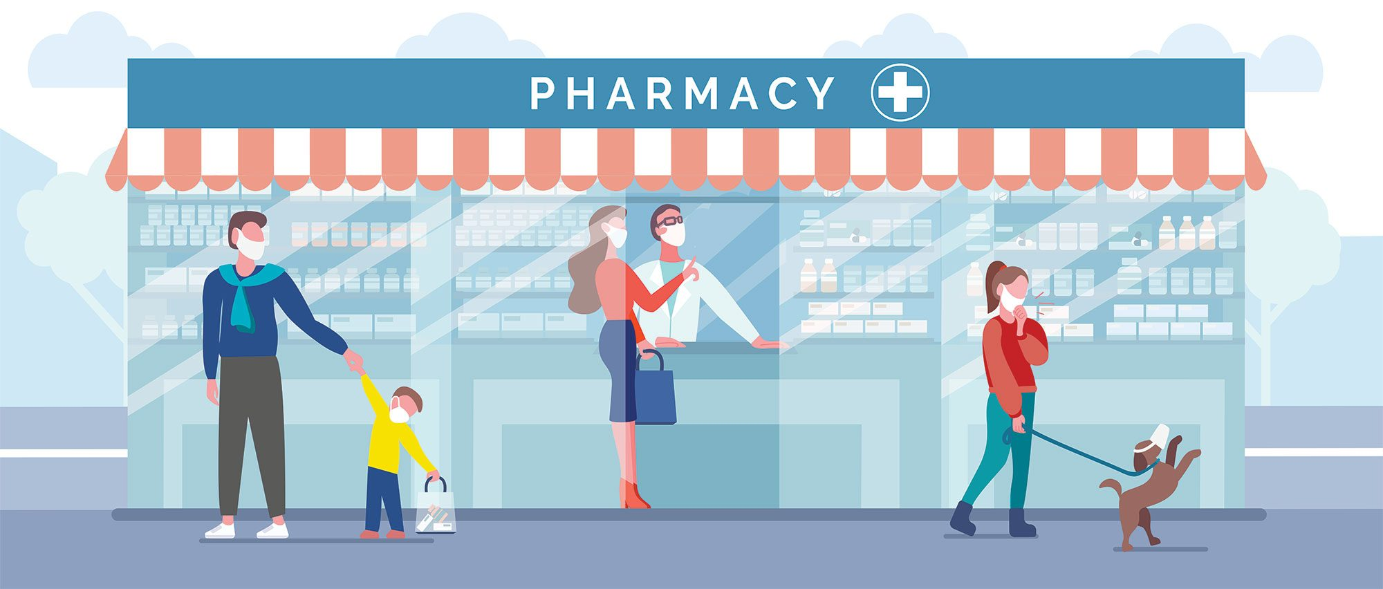 Drugstore or pharmacy. Pharmacist, woman, man, child and girl with dog in protective masks to prevent the spread of disease. Buying medicaments during epidemic, quarantine, virus. Vector illustration